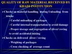 quality of raw material received by khadi institution
