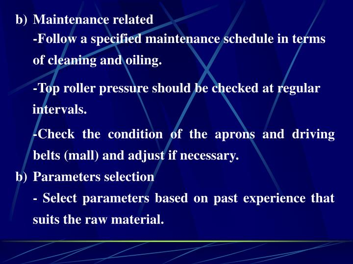 Maintenance related