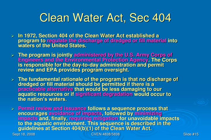 Clean Water Act, Sec 404