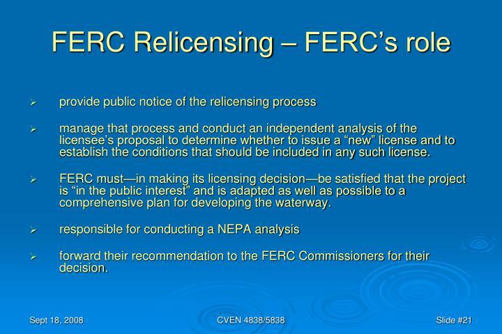 FERC Relicensing – FERC's role