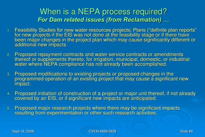 When is a NEPA process required?