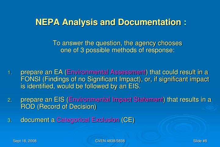 NEPA Analysis and Documentation