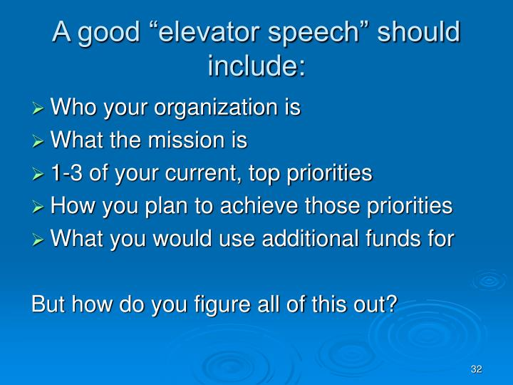 "A good ""elevator speech"" should include:"