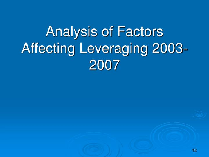 Analysis of Factors Affecting Leveraging 2003-2007
