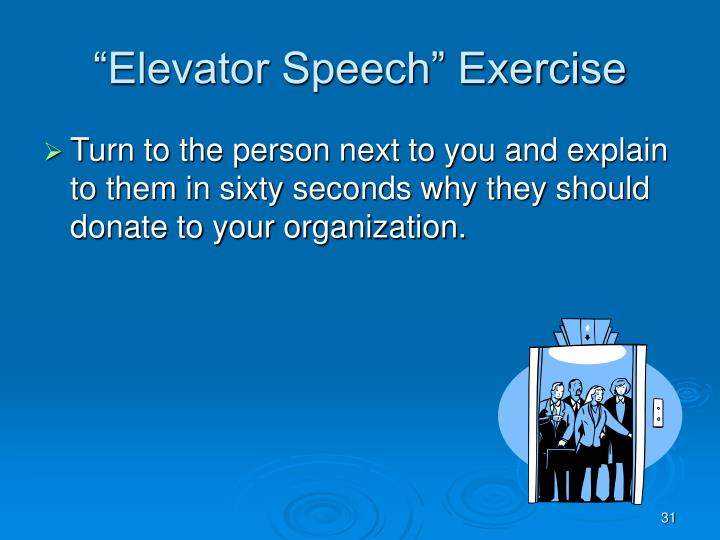 """Elevator Speech"" Exercise"