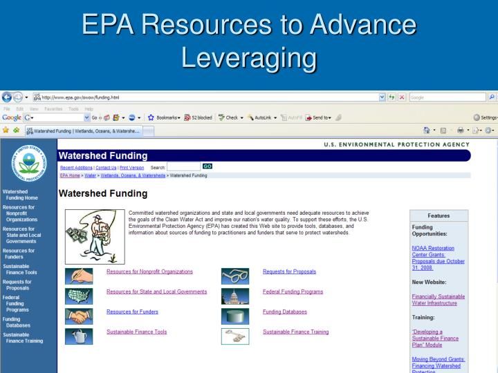 EPA Resources to Advance Leveraging