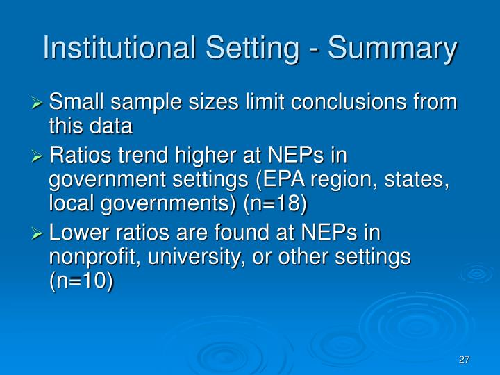 Institutional Setting - Summary