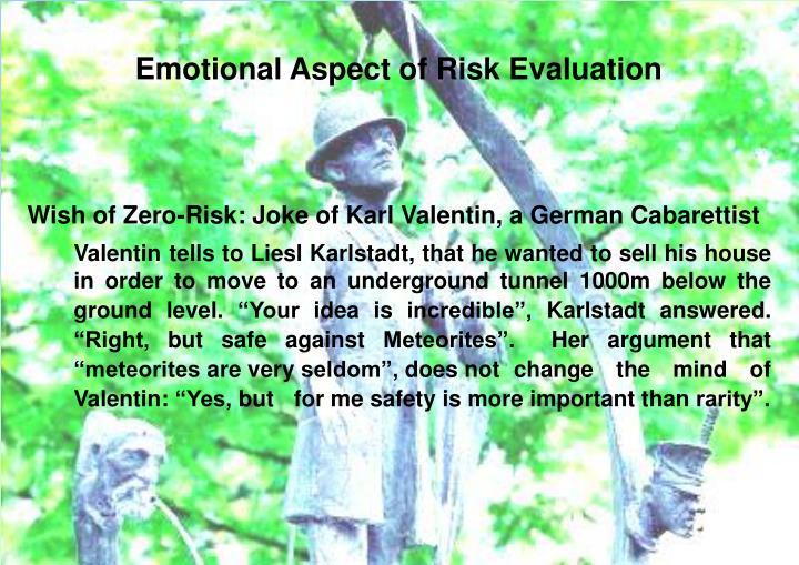 Emotional Aspect of Risk Evaluation