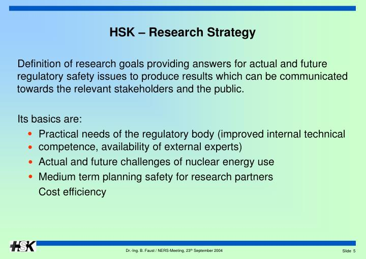 HSK – Research Strategy