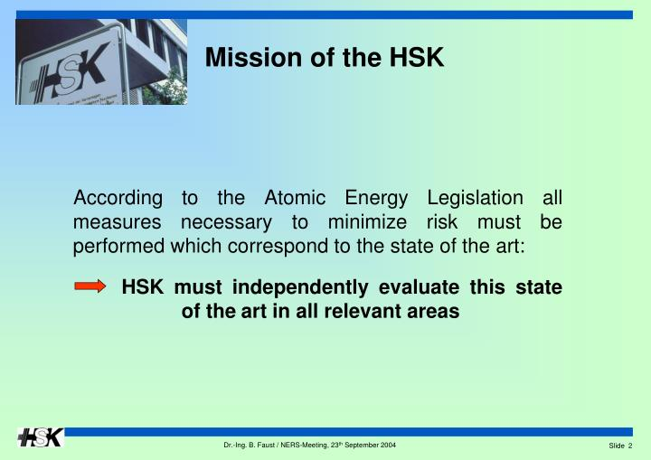 Mission of the HSK