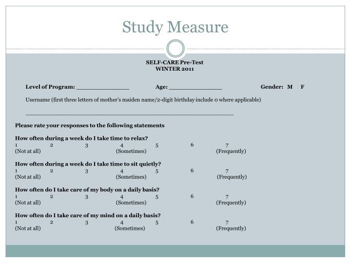 Study Measure