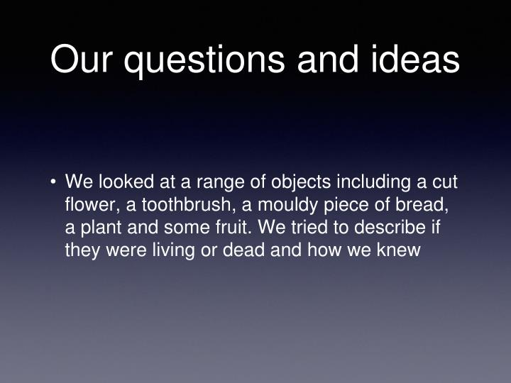 Our questions and ideas