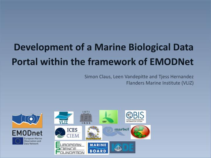 Development of a marine biological data portal within the framework of emodnet
