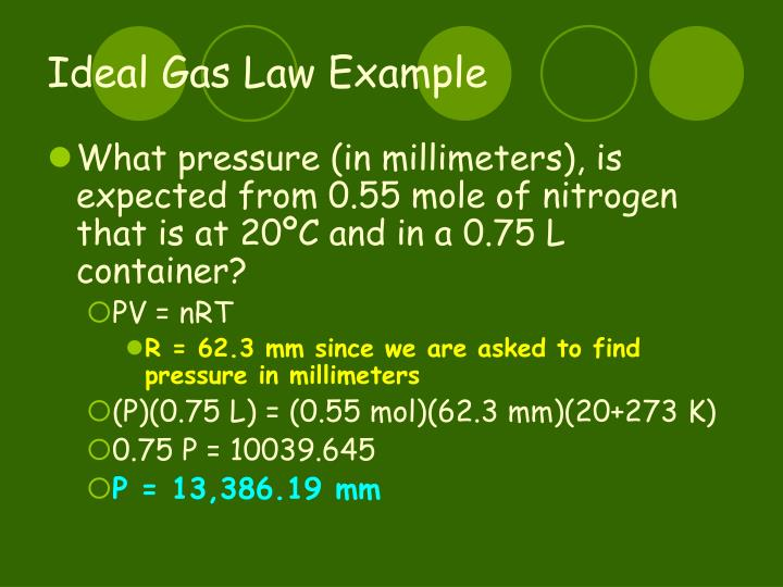 Ideal Gas Law Example