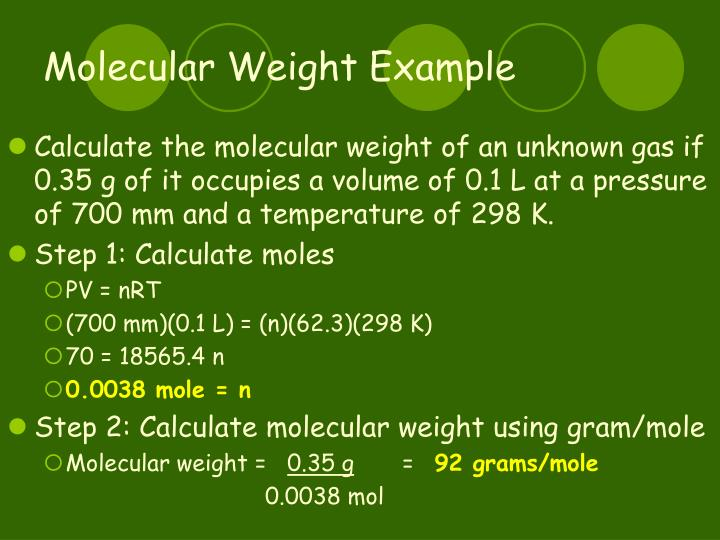 Molecular Weight Example