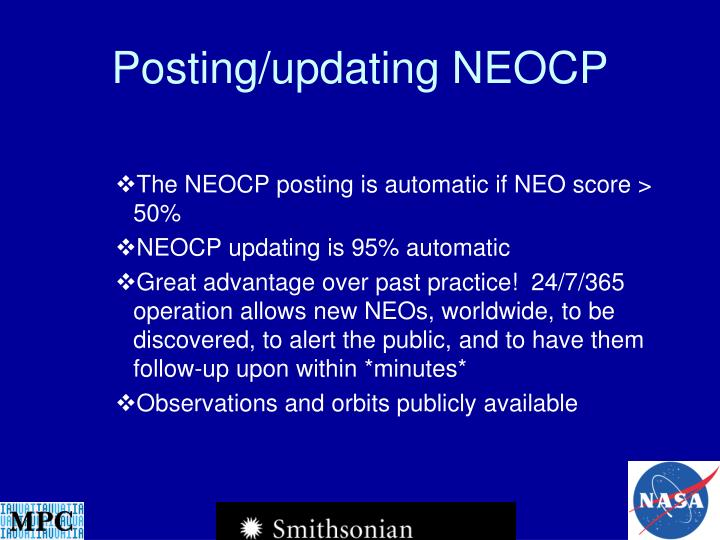 Posting/updating NEOCP