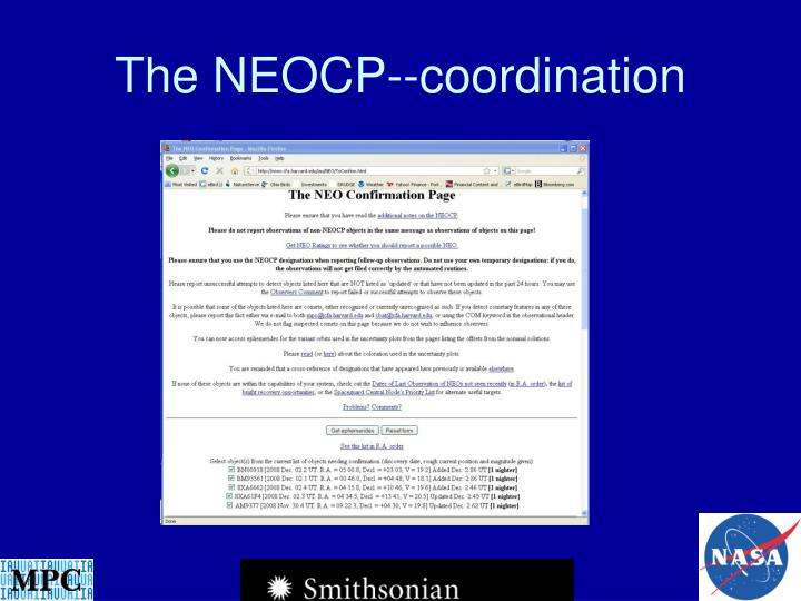 The NEOCP--coordination