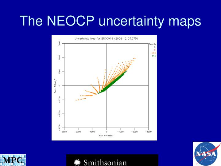 The NEOCP uncertainty maps