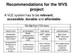 recommendations for the wvs project
