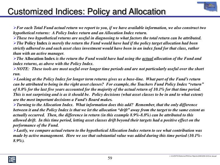 Customized Indices: Policy and Allocation