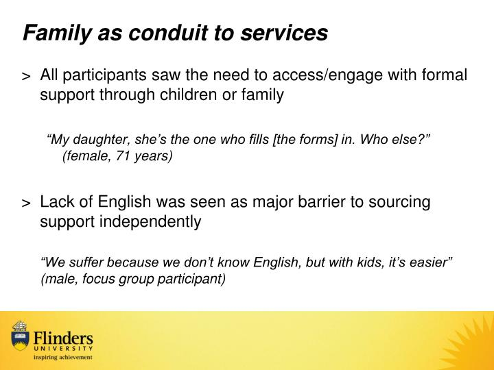 Family as conduit to services