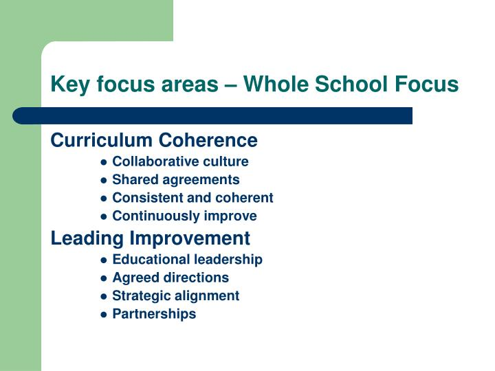 Key focus areas – Whole School Focus