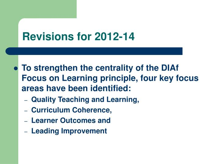 Revisions for 2012-14