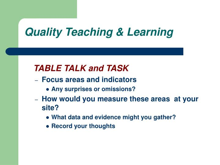 Quality Teaching & Learning