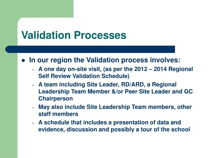 Validation Processes