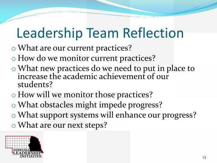 Leadership Team Reflection