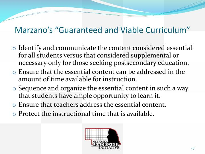 "Marzano's ""Guaranteed and Viable Curriculum"""
