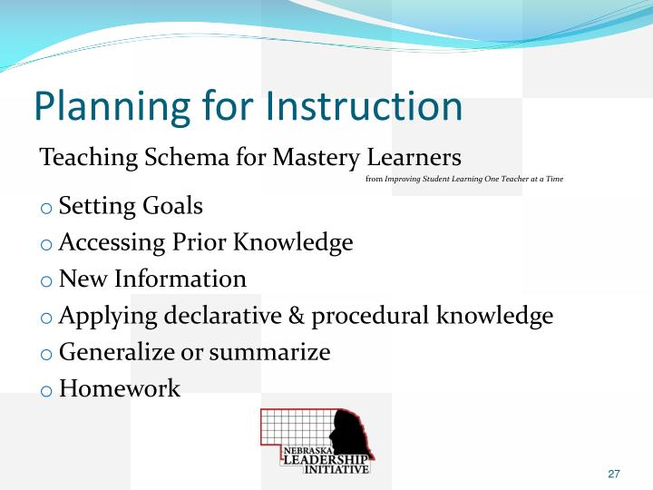 Planning for Instruction