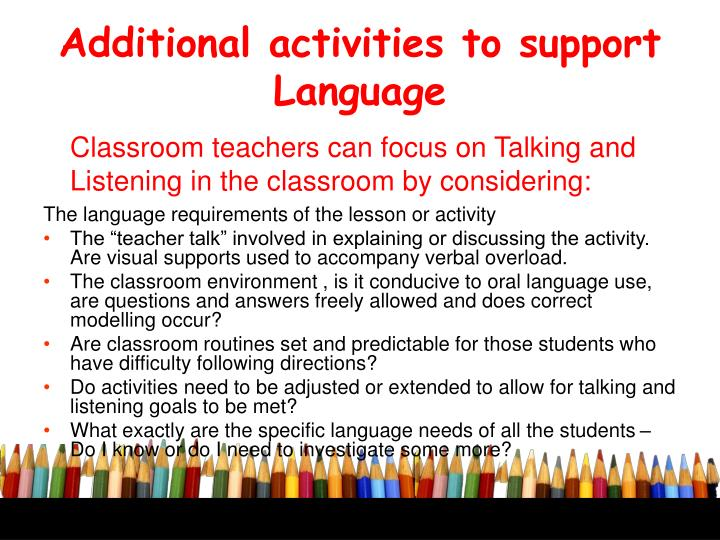 Additional activities to support Language