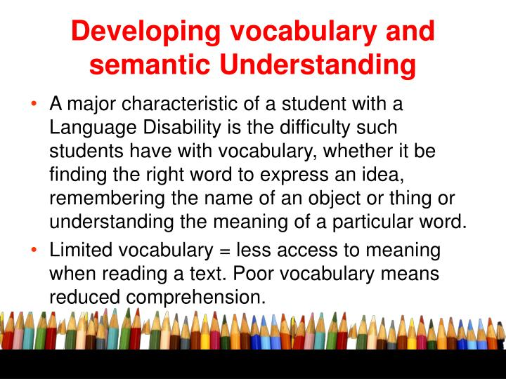 Developing vocabulary and semantic Understanding