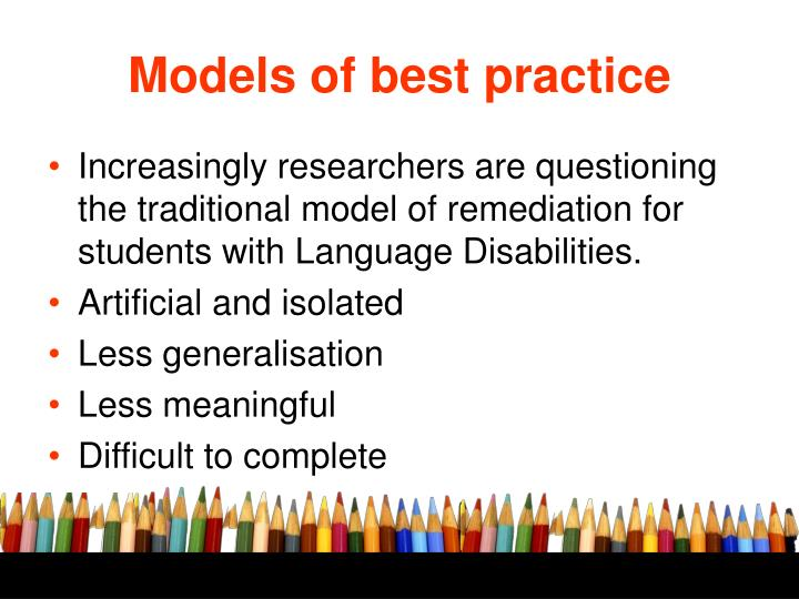 Models of best practice