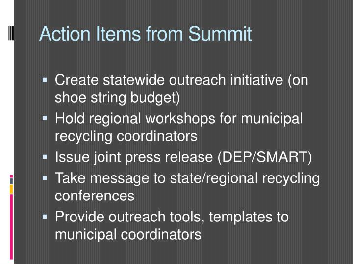 Action Items from Summit