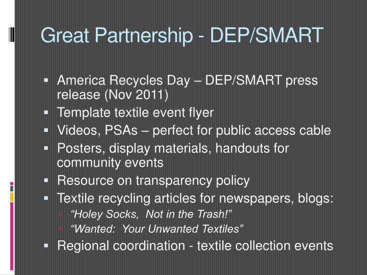 Great Partnership - DEP/SMART