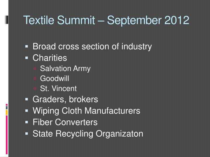 Textile Summit – September 2012