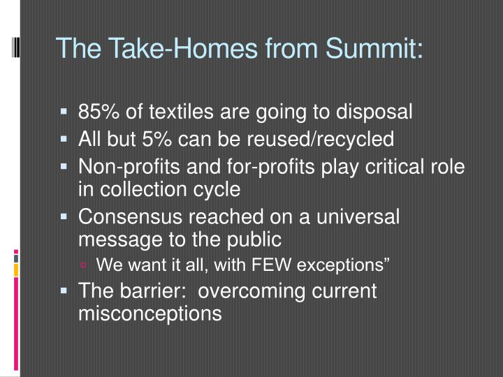 The Take-Homes from Summit: