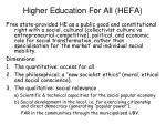 higher education for all hefa