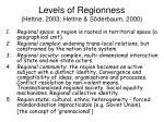 levels of regionness hettne 2003 hettne s derbaum 2000