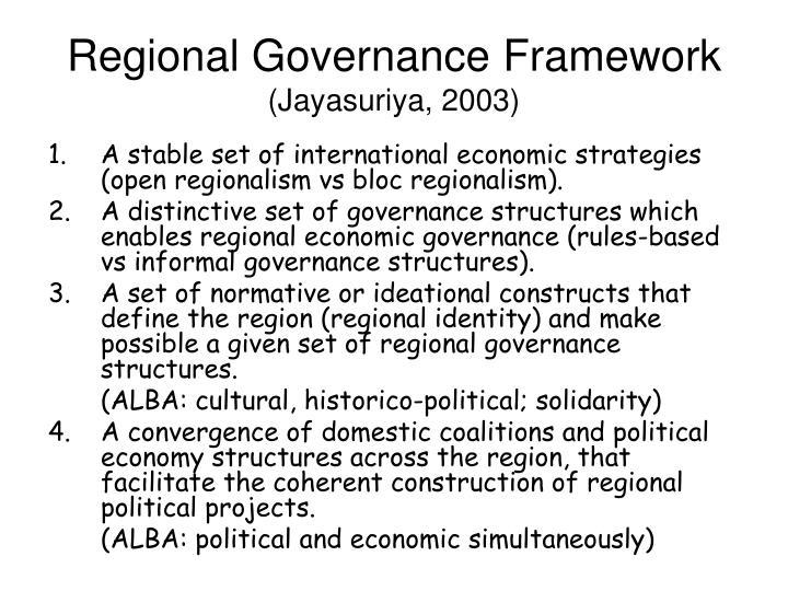 Regional Governance Framework