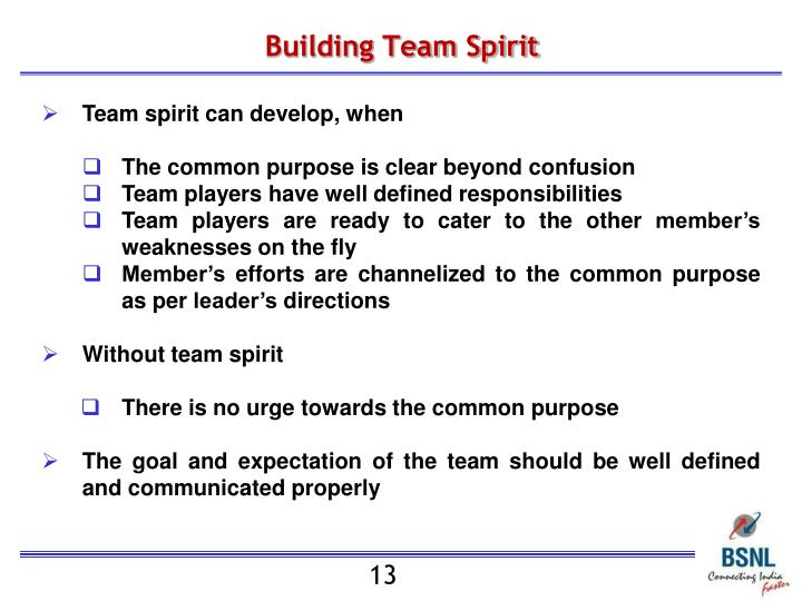 Building Team Spirit
