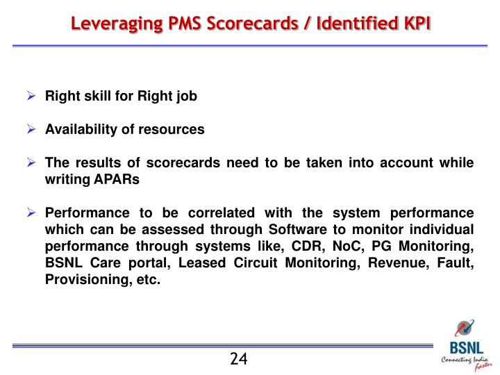 Leveraging PMS Scorecards / Identified KPI