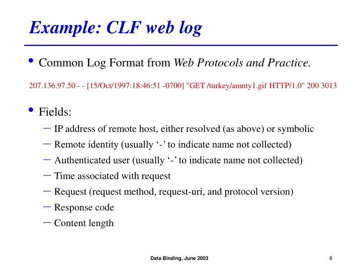 Example: CLF web log