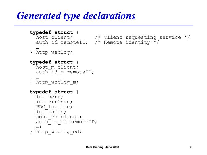 Generated type declarations