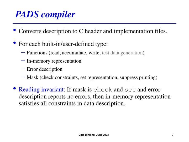 PADS compiler