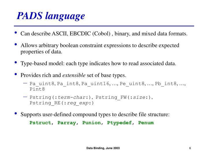 PADS language