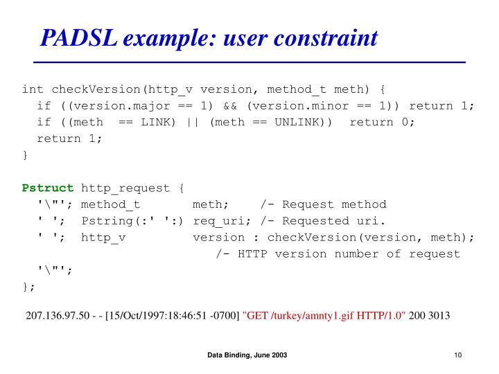 PADSL example: user constraint