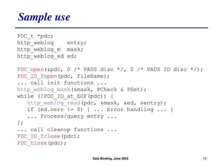 Sample use